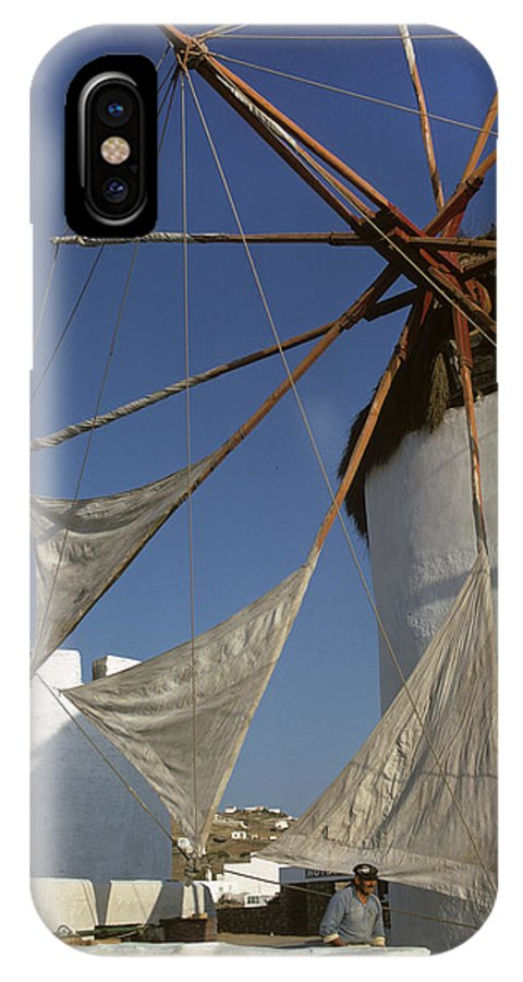Windmill IPhone X Case featuring the photograph Windmill On Mykonos by Carl Purcell
