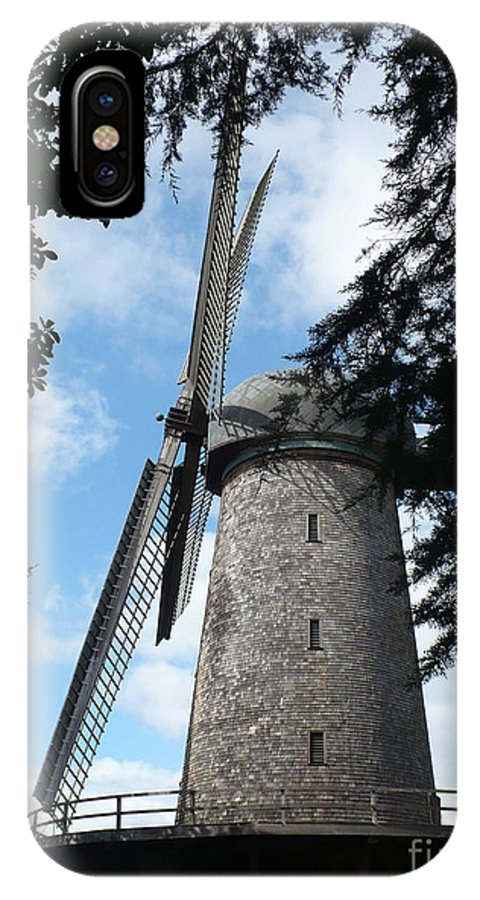 Windmill IPhone X Case featuring the photograph Windmill Through The Trees by Carol Groenen