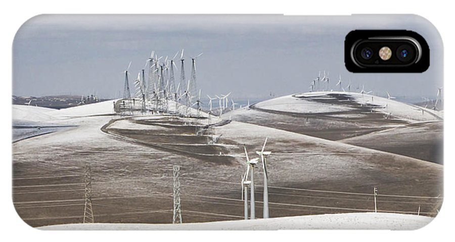 Patterson Pass IPhone X Case featuring the photograph Windmils In Snow by Karen W Meyer