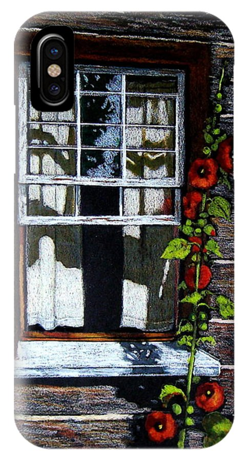 Window IPhone X Case featuring the drawing Window At Upper Canada Village by Joyce Geleynse