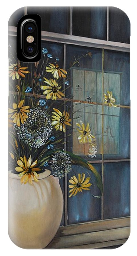 Wild Flowers IPhone X Case featuring the painting Window Dressing - Lmj by Ruth Kamenev