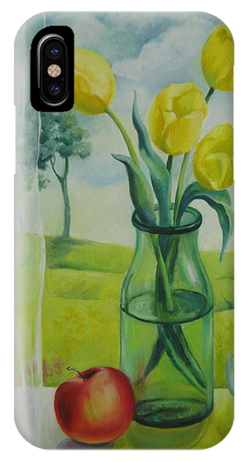 Tulips IPhone X Case featuring the painting Window by Elena Oleniuc