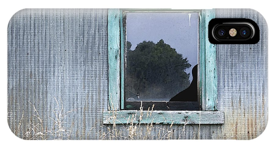 Window IPhone X Case featuring the photograph Window Framed In Aqua by Glennis Siverson