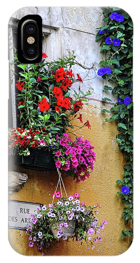 Flowers IPhone X Case featuring the photograph Window Garden In Arles France by Dave Mills