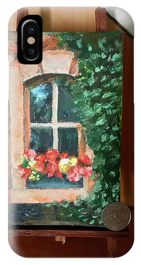 Mini Acrylic Painting With Easet IPhone X Case featuring the painting Window by My Caguioa