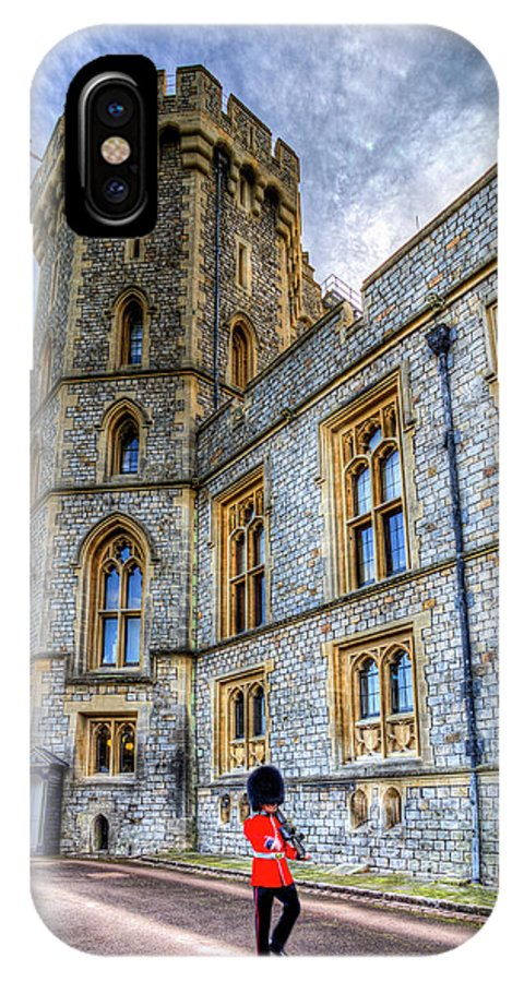 Windsor Castle IPhone X Case featuring the photograph Windsor Castle And Coldstream Guard by David Pyatt
