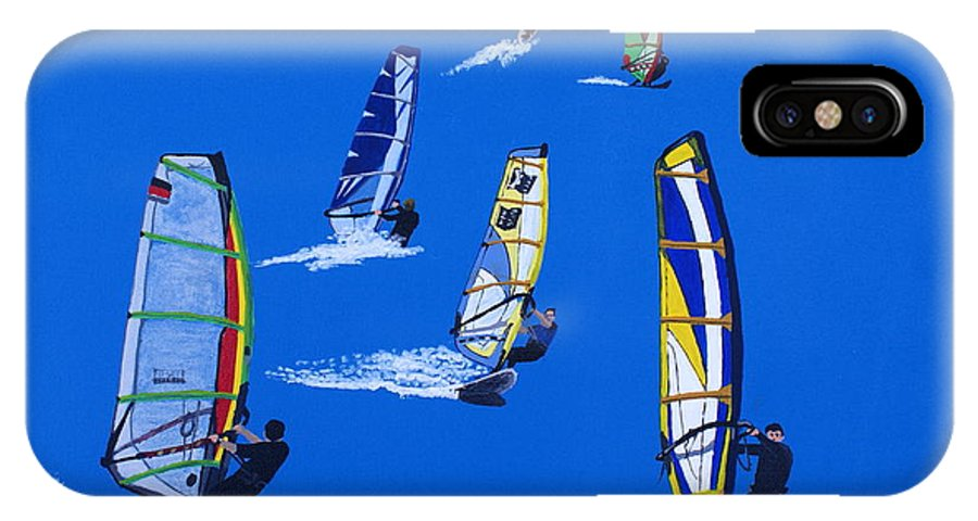 Sport IPhone X Case featuring the painting Windsurfers by Frank Hamilton