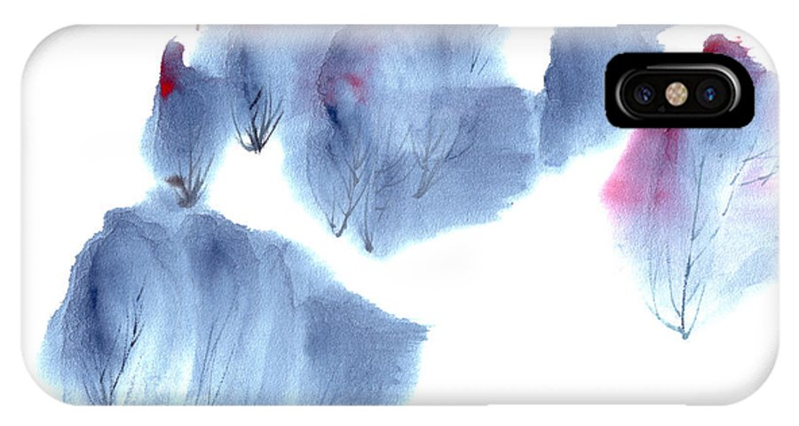 Waving Trees In A Forest On A Windy Day. This Is A Contemporary Chinese Ink And Color On Rice Paper Painting With Simple Zen Style Brush Strokes.  IPhone X / XS Case featuring the painting Windy Forest by Mui-Joo Wee