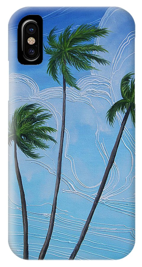 Palms IPhone X Case featuring the painting Windy Palms by Juan Alcantara