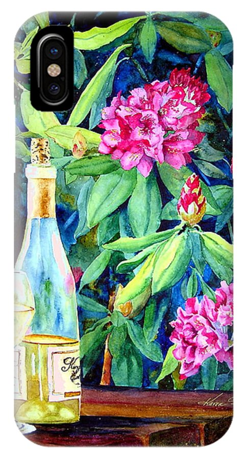 Rhododendron IPhone X Case featuring the painting Wine And Rhodies by Karen Stark