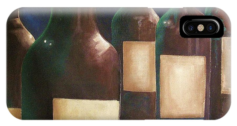 Wine IPhone X / XS Case featuring the painting Wine Bottles by Patrick Bornemann