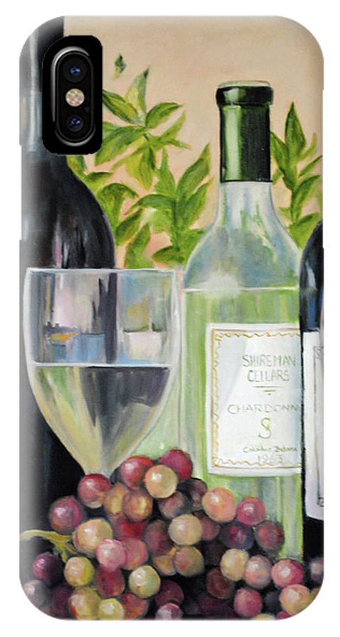 Wine IPhone X Case featuring the painting Wine Time by Carolyn Shireman