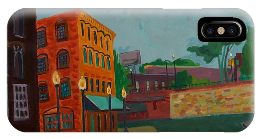 Cityscape IPhone X Case featuring the painting Wingate Street by Debra Bretton Robinson