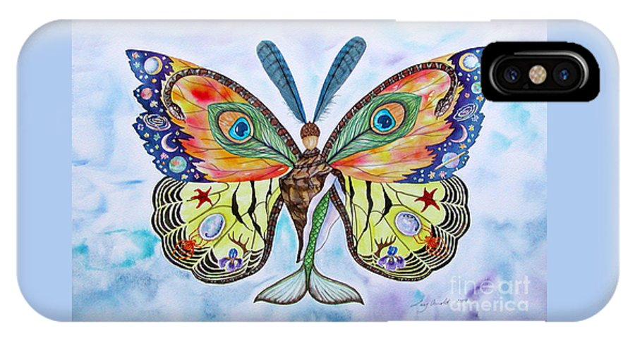 Butterfly IPhone X Case featuring the painting Winged Metamorphosis by Lucy Arnold