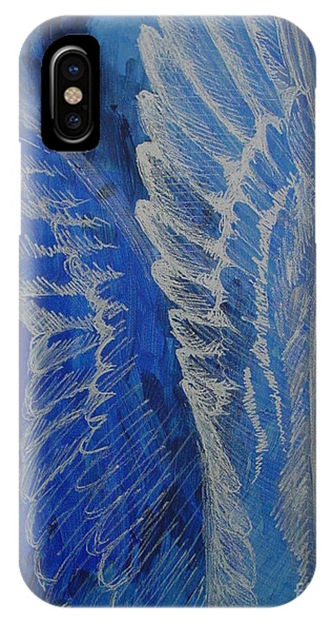 Acrylic IPhone X Case featuring the painting Wings Of Angel by Jindra Noewi