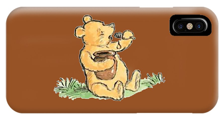 Honey IPhone X Case featuring the painting Winnie The Pooh T-shirt by Herb Strobino