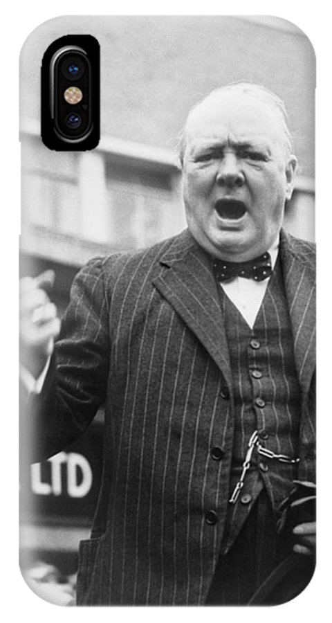 Churchill IPhone X Case featuring the photograph Winston Churchill Campaigning - 1945 by War Is Hell Store