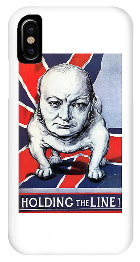 Winston Churchill IPhone X Case featuring the painting Winston Churchill Holding The Line by War Is Hell Store