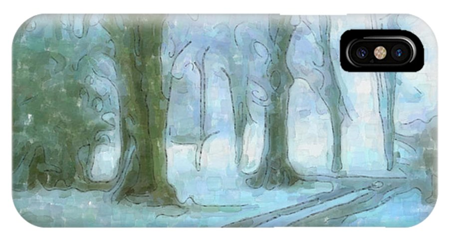 Snow IPhone X Case featuring the painting Winter by Anthony Caruso