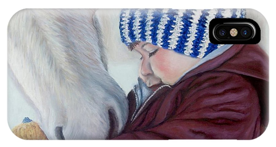 Horse IPhone X Case featuring the painting Winter Apples by Minaz Jantz