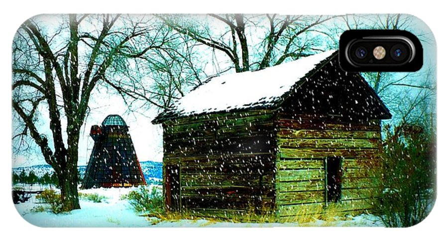 Winter Landscape IPhone X Case featuring the photograph Winter Barn And Silo by Carol Groenen