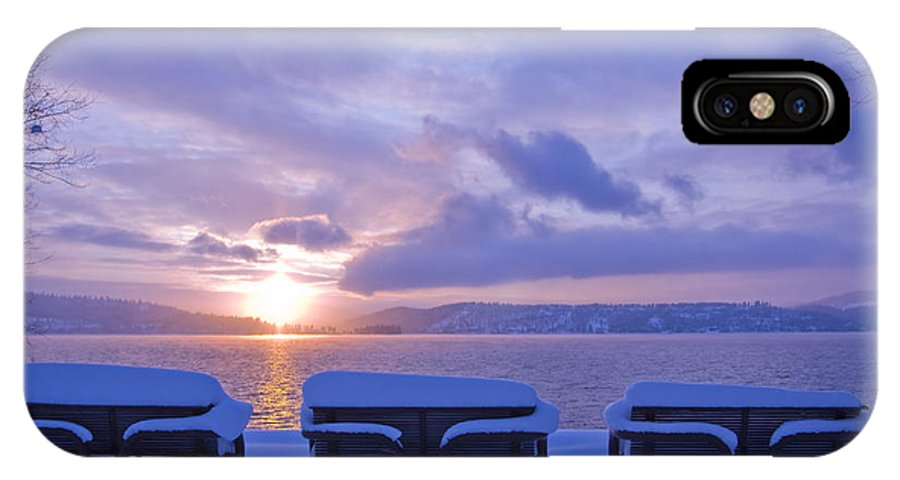 Lake IPhone Case featuring the photograph Winter Benches by Idaho Scenic Images Linda Lantzy