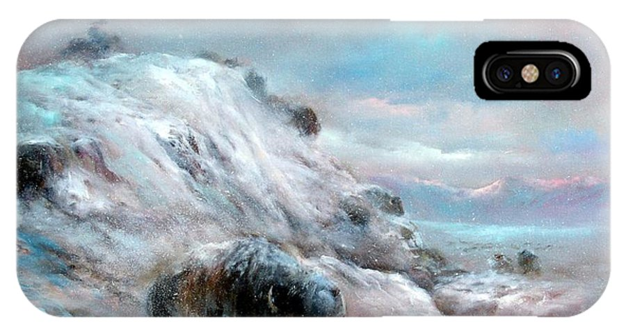 Winter IPhone X Case featuring the painting Winter Bison Chase by Sally Seago