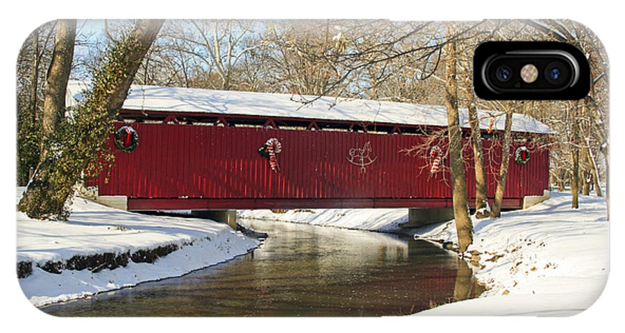Covered Bridge IPhone X Case featuring the photograph Winter Bridge by Margie Wildblood