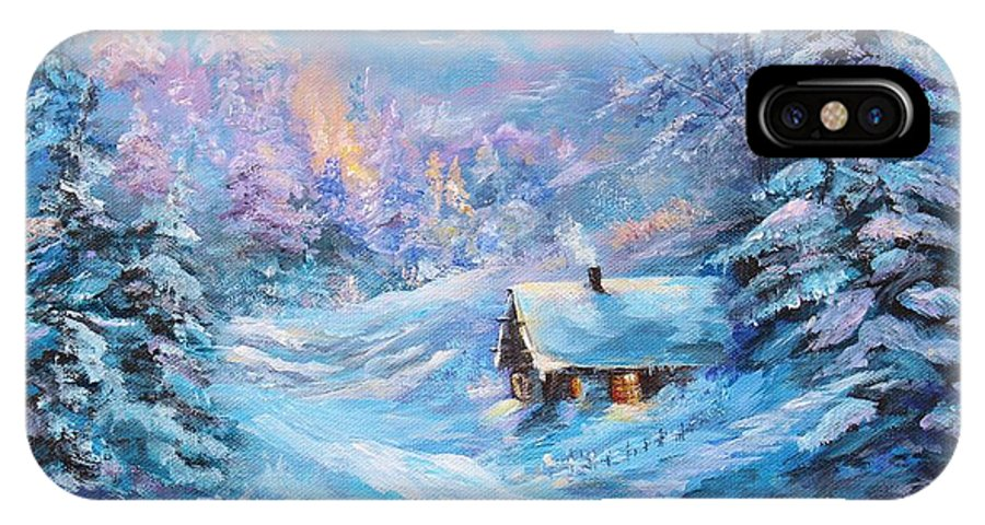 Winter IPhone X Case featuring the painting Winter Cabin by Nadia Bindr
