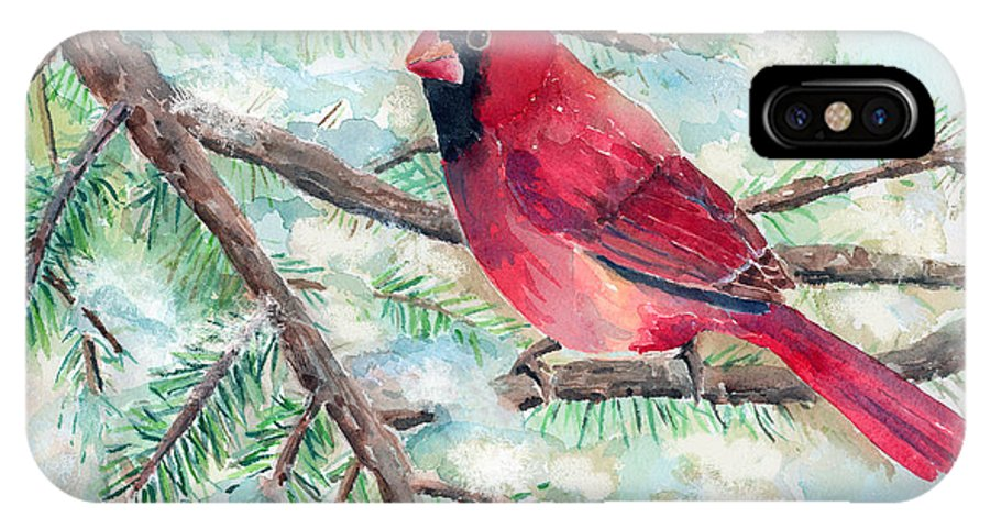 Cardinal IPhone X Case featuring the painting Winter Cardinal by Arline Wagner