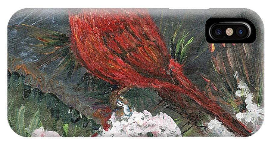 Bird IPhone X Case featuring the painting Winter Cardinal by Nadine Rippelmeyer