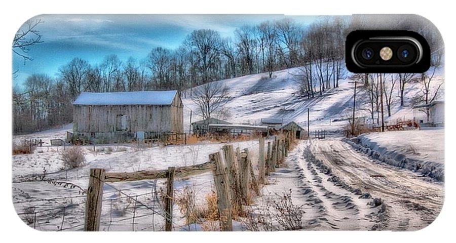 Barn IPhone X Case featuring the digital art Winter Farm Barn In Snow by Randy Steele