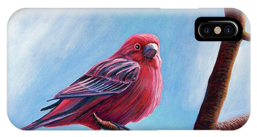 Bird IPhone X Case featuring the painting Winter Finch by Brian Commerford