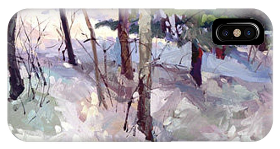 Landscape IPhone X Case featuring the painting Winter Garden Plein Air by Betty Jean Billups