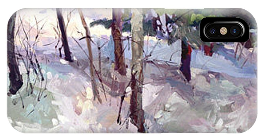 Landscape IPhone X / XS Case featuring the painting Winter Garden Plein Air by Betty Jean Billups