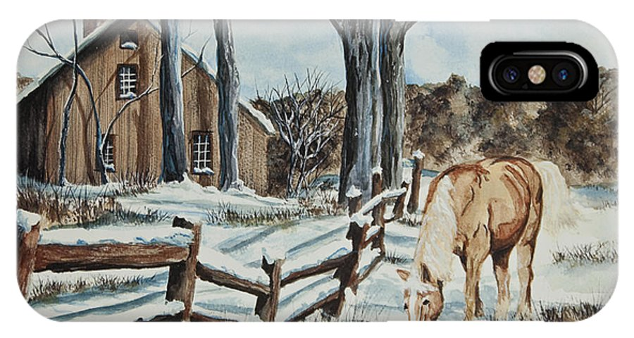 Horse IPhone X / XS Case featuring the painting Winter Grazing by Charlotte Blanchard