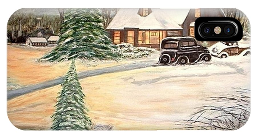 Landscape Home Trees Church Winter IPhone X / XS Case featuring the painting Winter Home by Kenneth LePoidevin