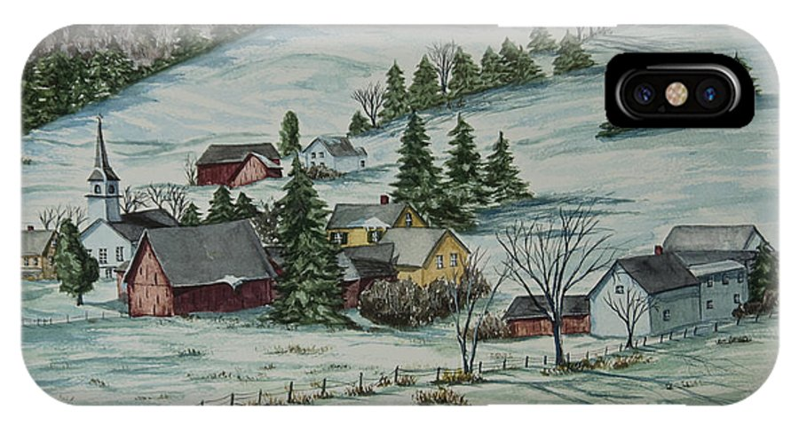 Winter Scene Paintings IPhone X Case featuring the painting Winter In East Chatham Vermont by Charlotte Blanchard