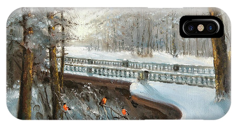 Winter IPhone X Case featuring the painting Winter In Pavlovsk Park by Mark Kremer