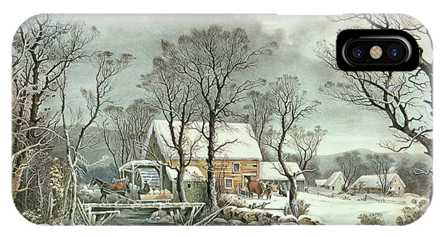 Winter In The Country - The Old Grist Mill IPhone X Case featuring the painting Winter In The Country - The Old Grist Mill by Currier and Ives