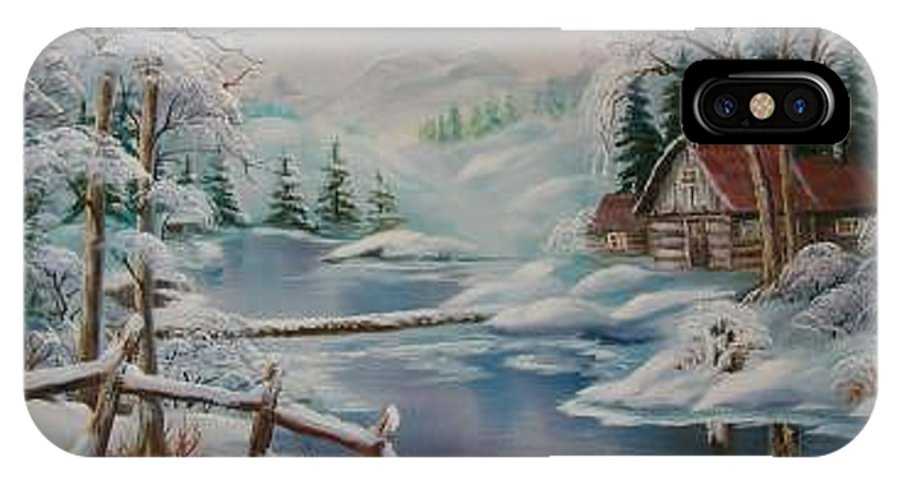 Winter Scapes IPhone X Case featuring the painting Winter In The Valley by Irene Clarke