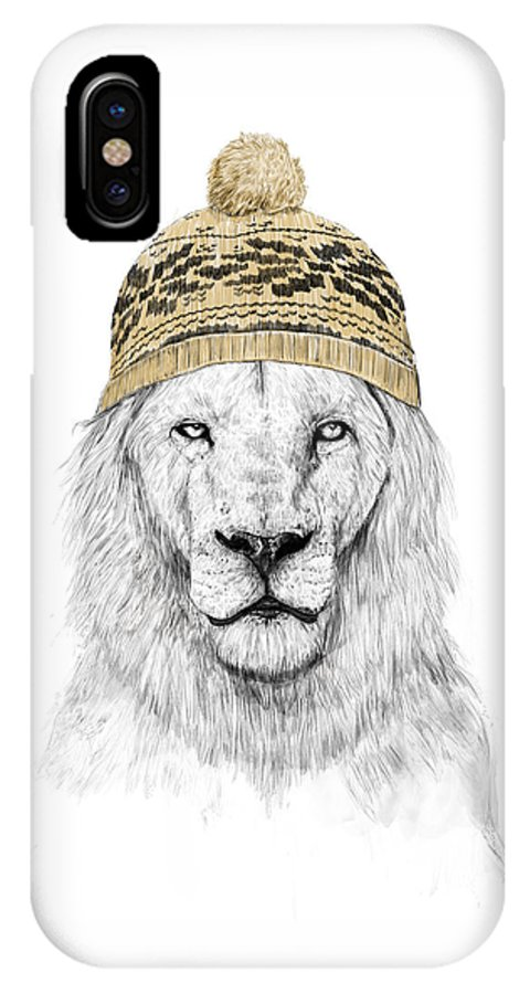 Lion IPhone X Case featuring the mixed media Winter Is Coming by Balazs Solti