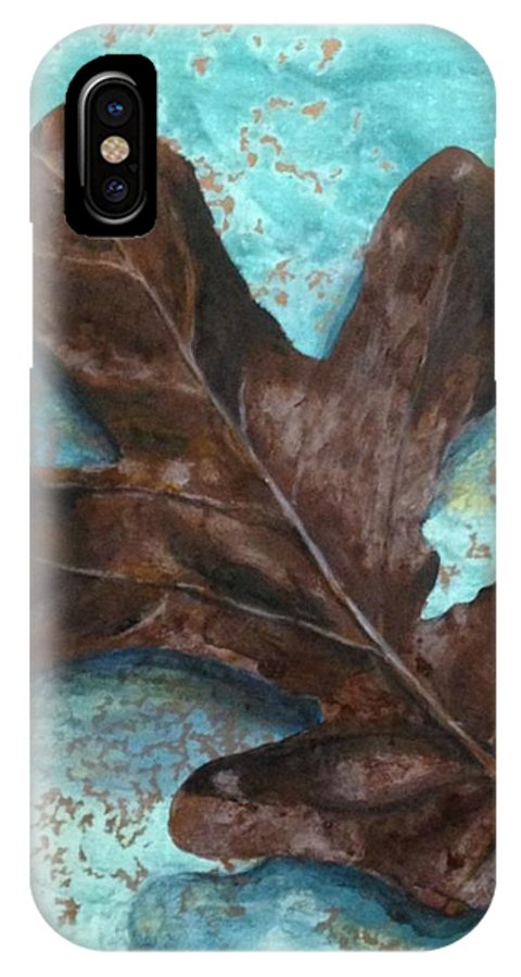 Leaf IPhone X / XS Case featuring the painting Winter Leaf by T Fry-Green