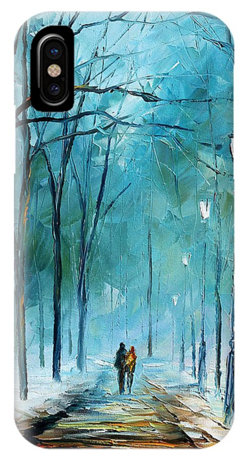Landscape IPhone X Case featuring the painting Winter by Leonid Afremov