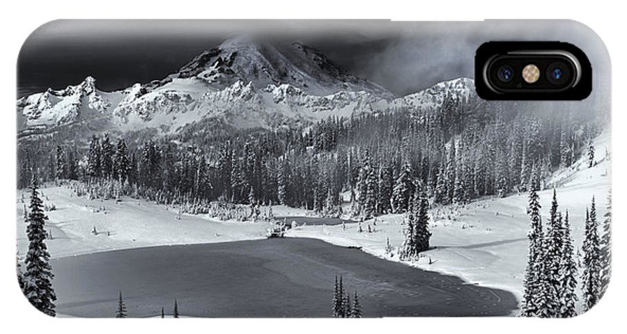 Mountain IPhone X Case featuring the photograph Winter Majestic by Mike Dawson