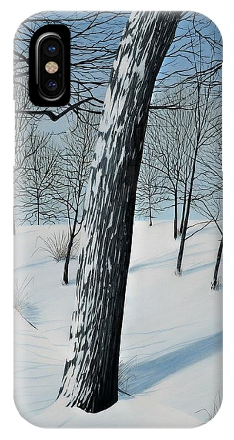 Landscape IPhone X Case featuring the painting Winter Maple by Kenneth M Kirsch