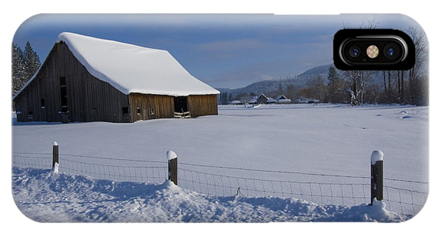Barn IPhone X Case featuring the photograph Winter Meadow by Idaho Scenic Images Linda Lantzy