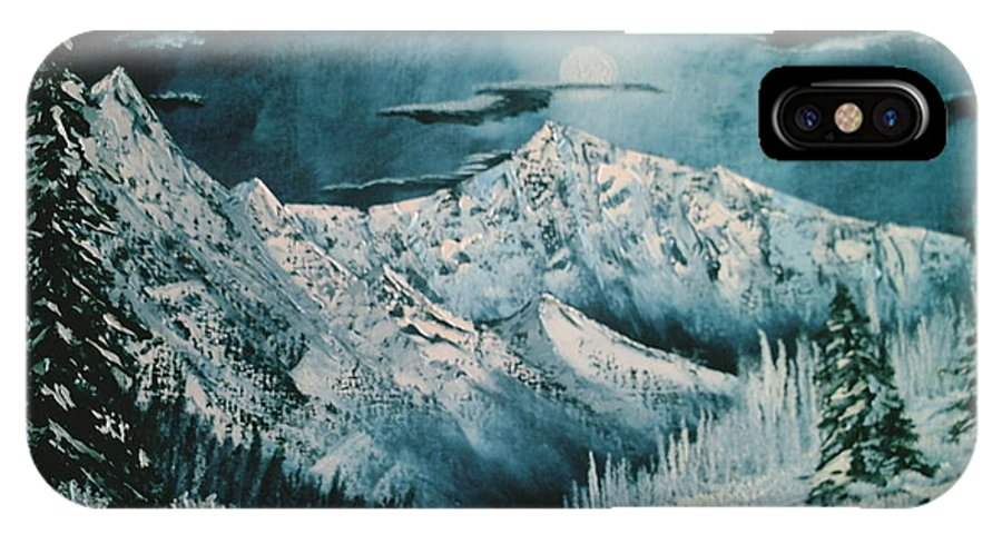 Winter Landscape IPhone X Case featuring the painting Winter Moon 2 by Jim Saltis