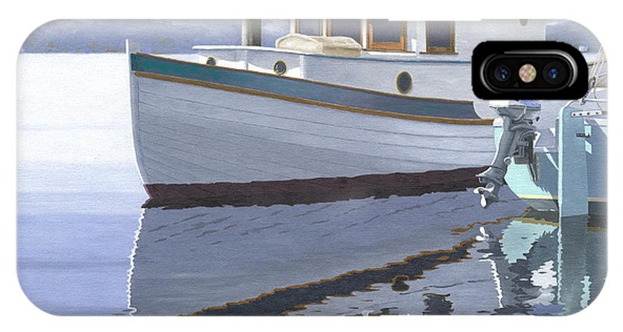 Marine IPhone X Case featuring the painting Winter Moorage by Gary Giacomelli