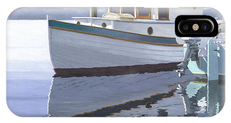 Marine IPhone X / XS Case featuring the painting Winter Moorage by Gary Giacomelli